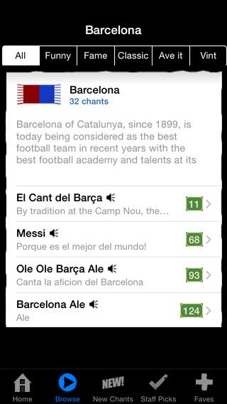 Barcelona Edition: Football Chants Songs + ringtones
