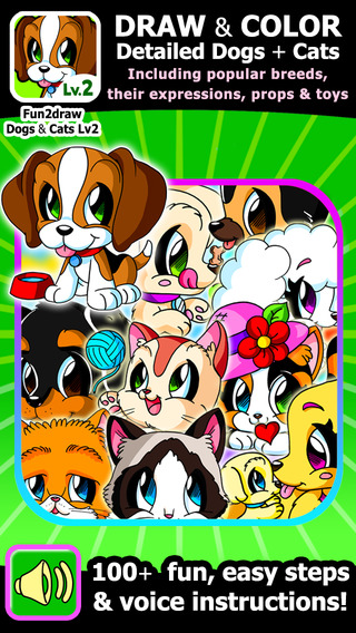 Learn to Draw Popular Dogs Cats - Draw and Color Easy Animals - Cartoon Art Lessons - Fun2draw™ Dogs