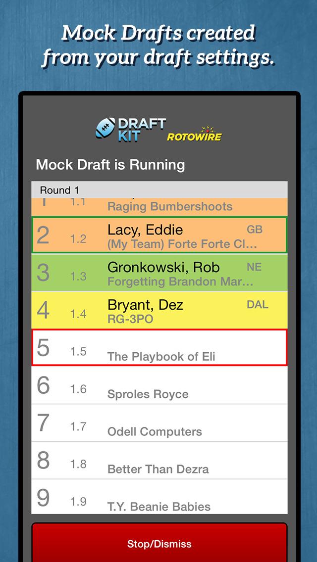 RotoWire Fantasy Football Draft Kit 2015  Screenshot