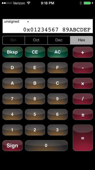HexCalc - Hexadecimal Calculator iPhone Screenshot 1