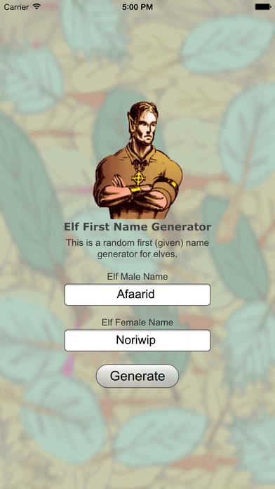 Elf Name Gen Basic iPhone Screenshot 1