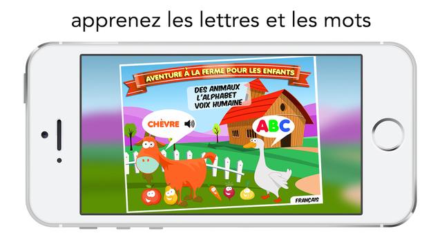 Aventure à la Ferme pour les Enfants Jeu éducatif avec des animaux et des lettres