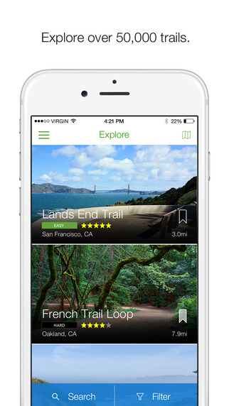 AllTrails Hiking Mountain Biking Trails GPS Tracker Offline Topo Maps