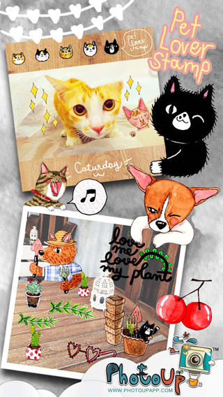 Pet Lover Stamp by PhotoUp - lovely cat dog rabbit cute diary journal sticker