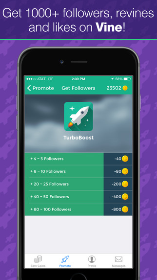 TurboBoost - Get followers revines and likes for Vine