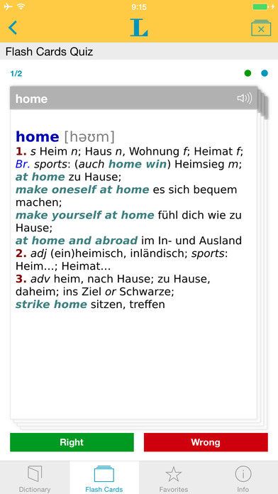 German <-> English Talking Dictionary Langenscheidt Basic iPhone Screenshot 3