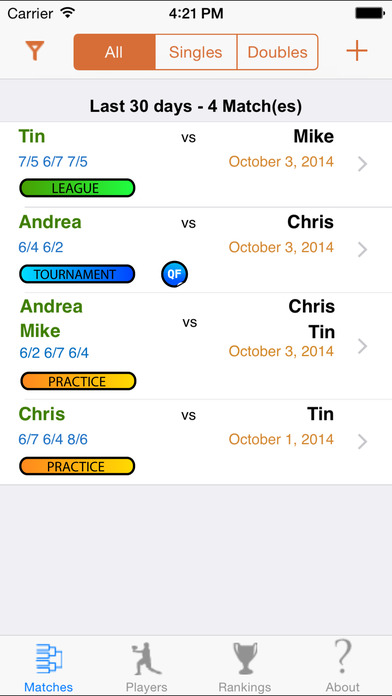 My Tennis Buddy iPhone Screenshot 1