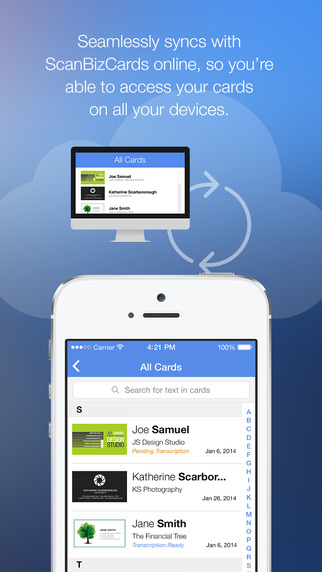 ScanBizCards Business Card Reader Screenshots