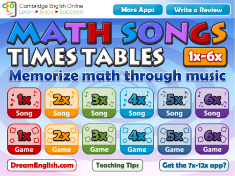Math Songs: Times Tables 1x - 6x HD
