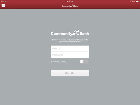 Community 1st Bank Mobile for iPad