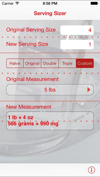 Serving Sizer recipe converter iPhone Screenshot 3