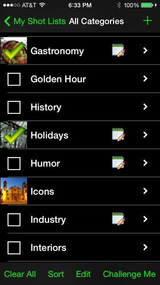 My Shot Lists for Travel iPhone Screenshot 1