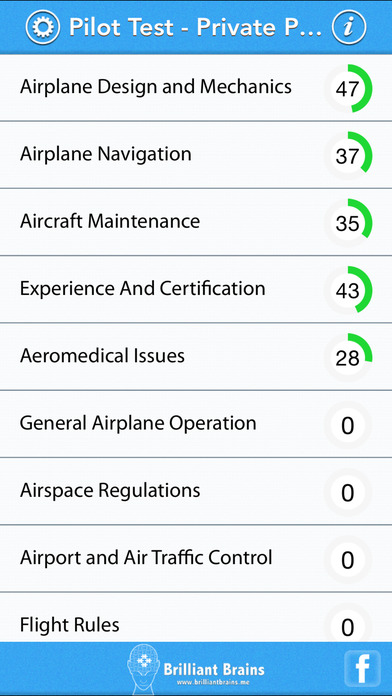 Pilot Test - Private Pilot Airplane Lite (PAR) iPhone Screenshot 1