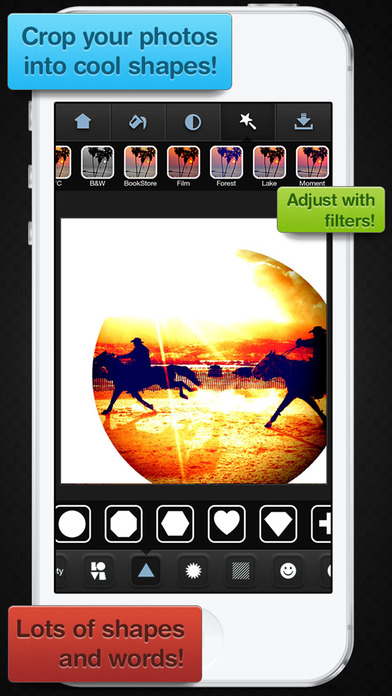 Screenshots of Insta Shapes - Snap pics & frame photos to silhouette symbol & alter for posts on IG, Fbook, flicker, tagged & tumblr for iPhone