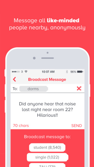 Reach - message people by uni dorm frat course anonymously
