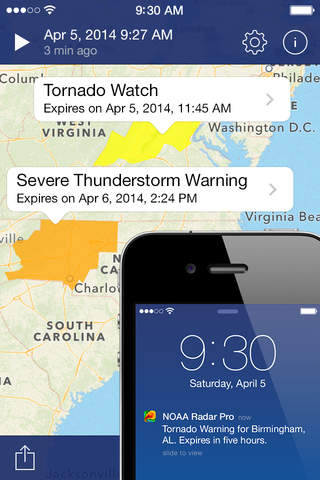 iphone NOAA Radar Pro – Severe Weather Alerts,  Forecast & Hurricane Tracker Screenshot 1