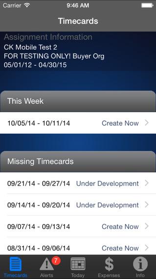 IQNavigator Timecards iPhone Screenshot 1
