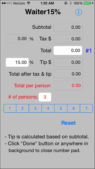Waiter15 Tip Calculator