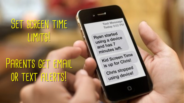Kid Screen Time scheduler alerts parent when device time is up