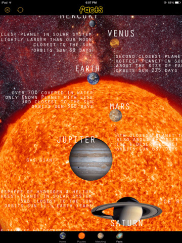 Solar System Fun Puzzles Matching Fun Facts