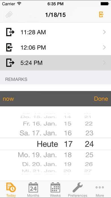 Stechuhr iPhone Screenshot 2