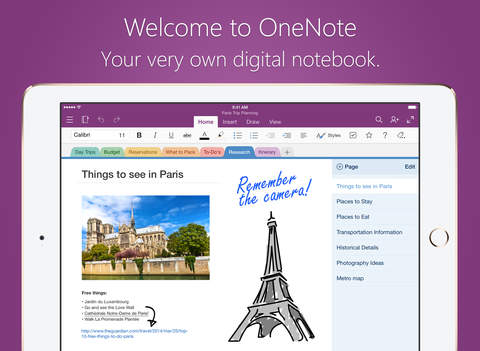 Microsoft OneNote for iPad – lists handwriting and notes organized in a notebook