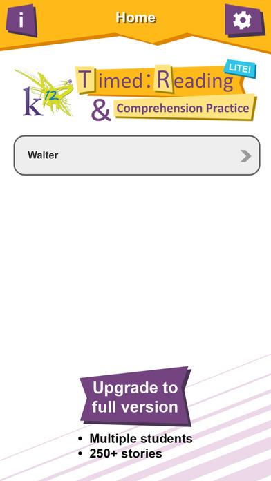 K12 Timed Reading & Comprehension Practice Lite Screenshot