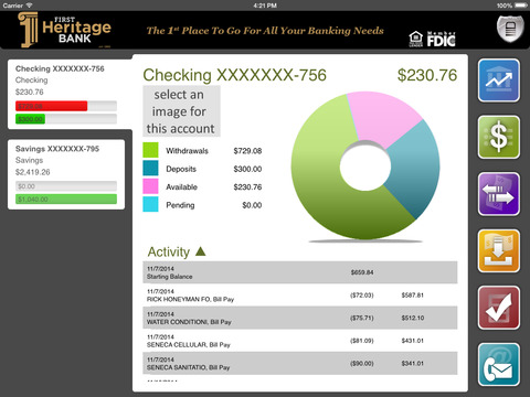 First Heritage Bank Mobile Banking for iPad