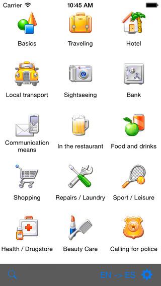 English-Spanish-Arabic Talking Travel Phrasebook iPhone Screenshot 1