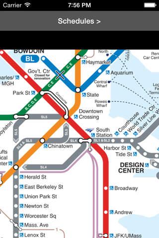 MBTA Boston T Map screen