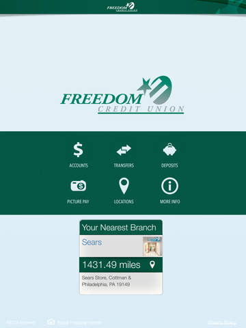Freedom Credit Union Mobile Banking for iPad