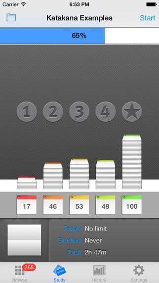 StickyStudy: Japanese Kana (Hiragana & Katakana SRS Study Flashcards) Screenshots
