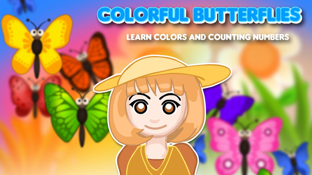 Colorful Butterflies : Learn colors and counting n