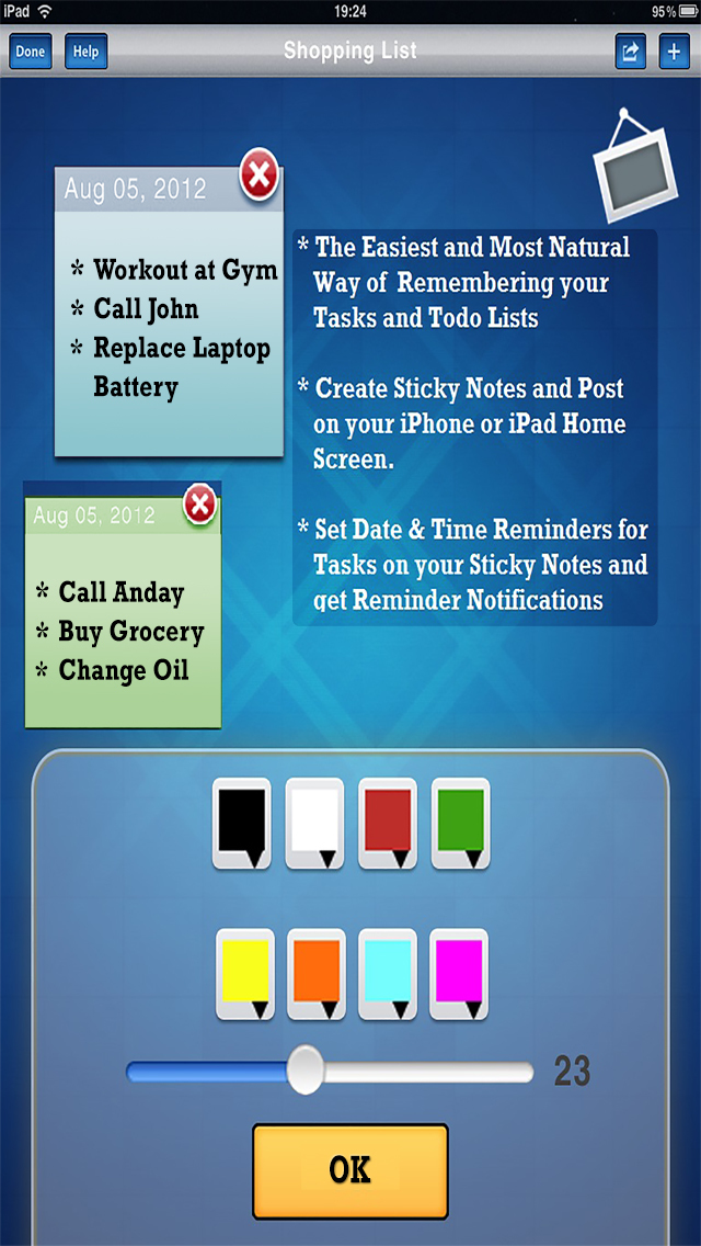 Sticky Notes and Task Reminders (ios)