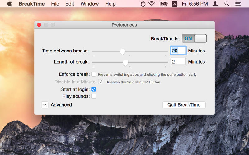提醒你休息的软件 BreakTime for Mac