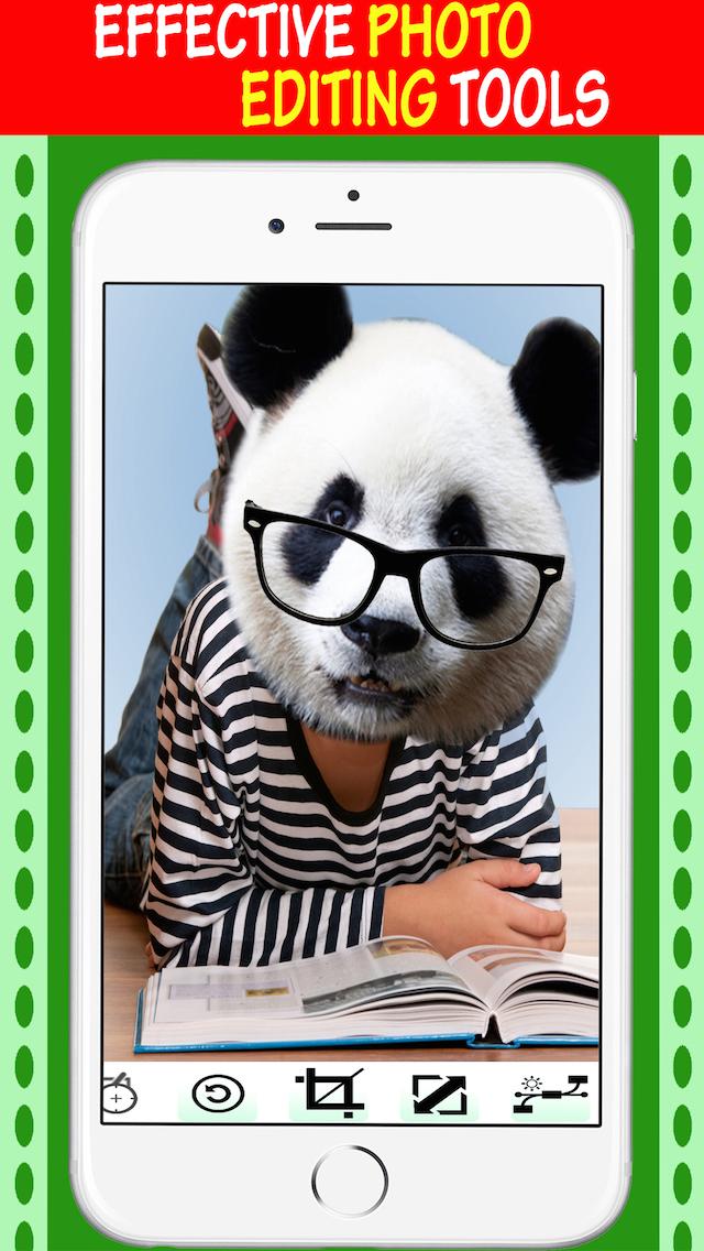 图片编辑同知名的动物脸贴纸和涂鸦