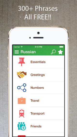 Learn Russian - Phrasebook for Travel ・Study ・ Business - free offline language words phrases vocabu
