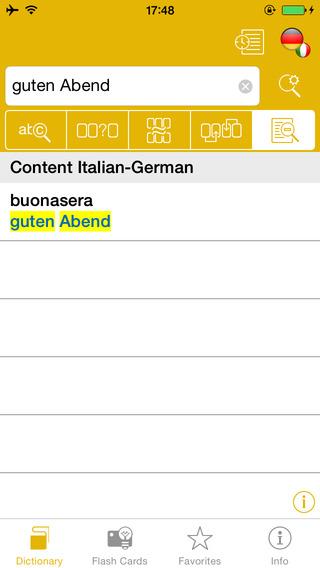 German <-> Italian Talking Dictionary Global Mondadori Langenscheidt iPhone Screenshot 3