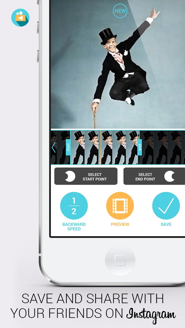 倒向视频 - Vine 和 Instagram的反向慢动作倒带编辑影片剪辑 - iPhone 截图 5