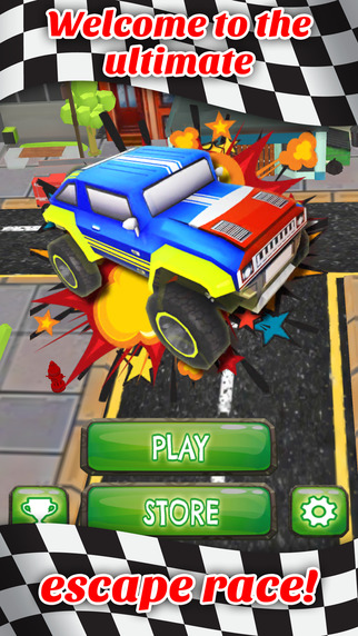 Downtown Monster Car Stunt Rally - FREE - Crazy Fast Obstacle Course Race Game