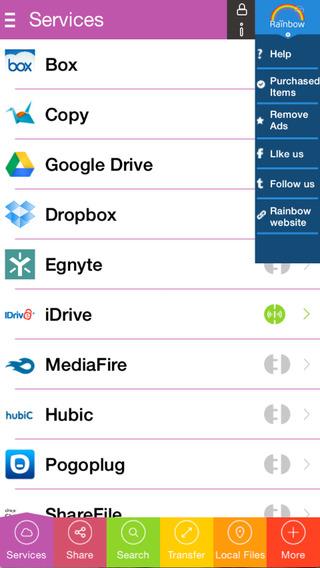 Rainbow - Sync data between cloud services - for Box Copy Dropbox Google Drive iDrive MediaFire Pogo