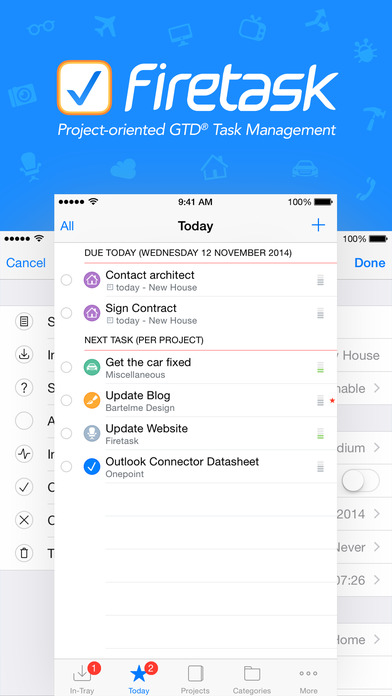 Firetask - Project-oriented Task Management (GTD-inspired) iPhone Screenshot 1