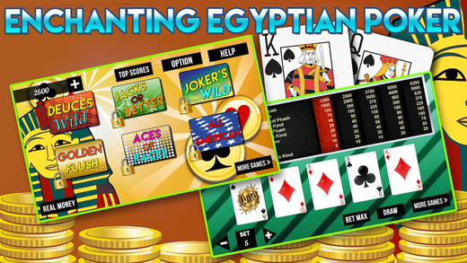 Video Poker Blitz of Pharaohs with Big Wheel of Jackpots
