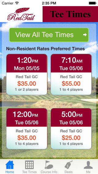 Red Tail Florida Golf Tee Times