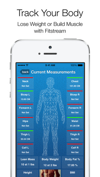Fitstream - Fitness Journal Progress Pictures Body Measurement Tracker