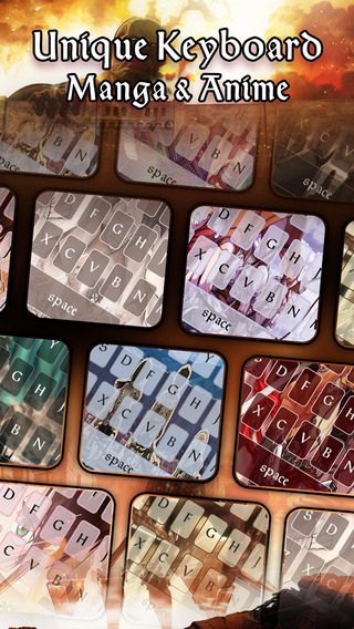 Manga Anime Keyboard : Custom Color Wallpaper Themes in Attack on Titan Style