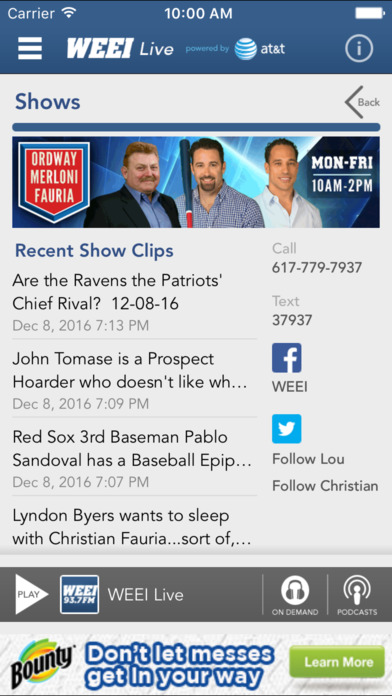WEEI Live iPhone Screenshot 4