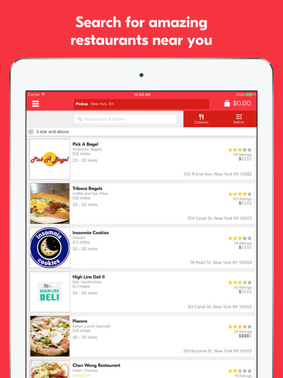 Screenshots of Grubhub Food Delivery & Takeout for iPad