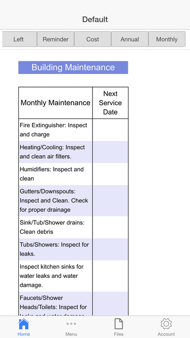 Building Maintenance Planner Screenshots