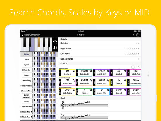 Piano Chords, Scales Companion PRO, Progressions Screenshots